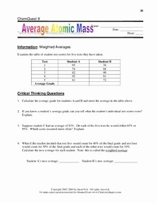 Average atomic Mass Worksheet Elegant Average atomic Mass Worksheet for 9th 12th Grade