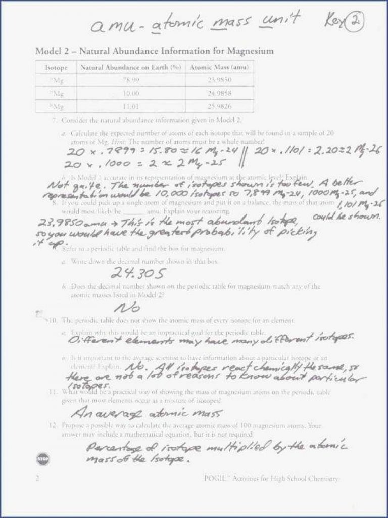 Average atomic Mass Worksheet Elegant by Using This Average atomic Mass Worksheet Answers Pogil
