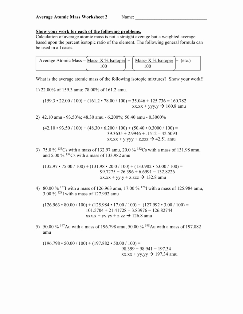 Average atomic Mass Worksheet Fresh 02 06 Average atomic Mass Worksheet 2