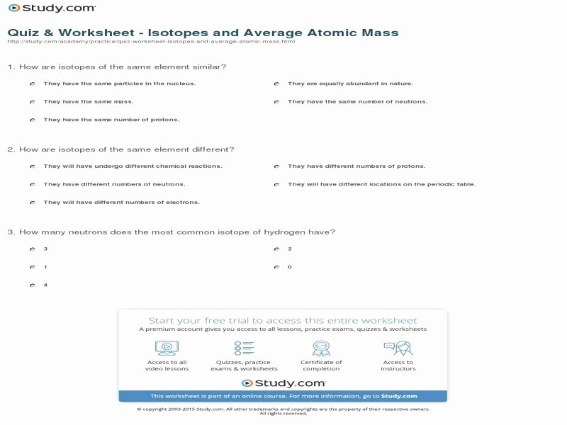 Average atomic Mass Worksheet Fresh Calculating Average atomic Mass Worksheet Answers Free