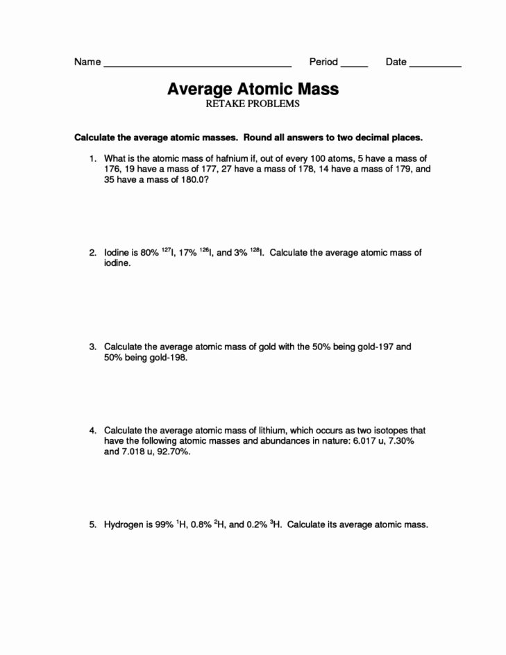 Average atomic Mass Worksheet Luxury Average atomic Mass Worksheet