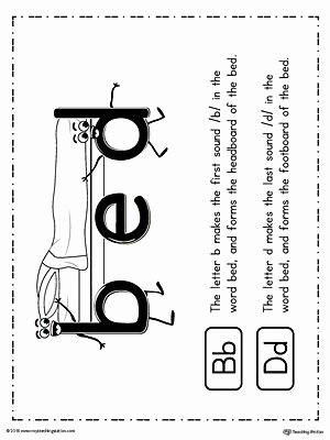 B and D Confusion Worksheet Luxury B D Letter Reversal Teaching Poster Using the Word Bed