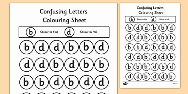 B and D Confusion Worksheet Unique Confusing Letters Colouring Worksheets B and D Letters