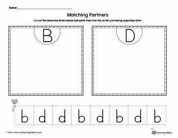 B and D Worksheet Beautiful B D Letter Reversal Match to Uppercase Worksheet