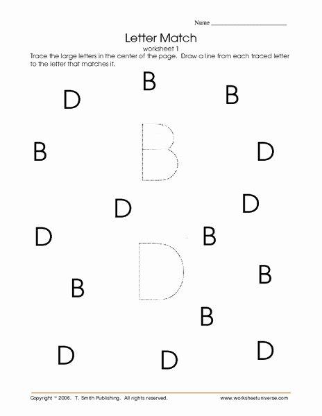 B and D Worksheet Inspirational Letter Match Worksheet 1 Letters D and B Worksheet for