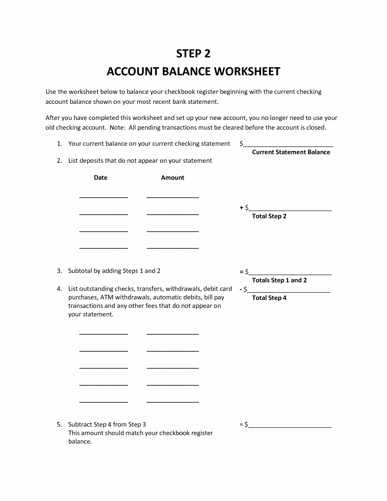 Balancing A Checkbook Worksheet Elegant 14 Best Of Checking Account Balance Worksheet