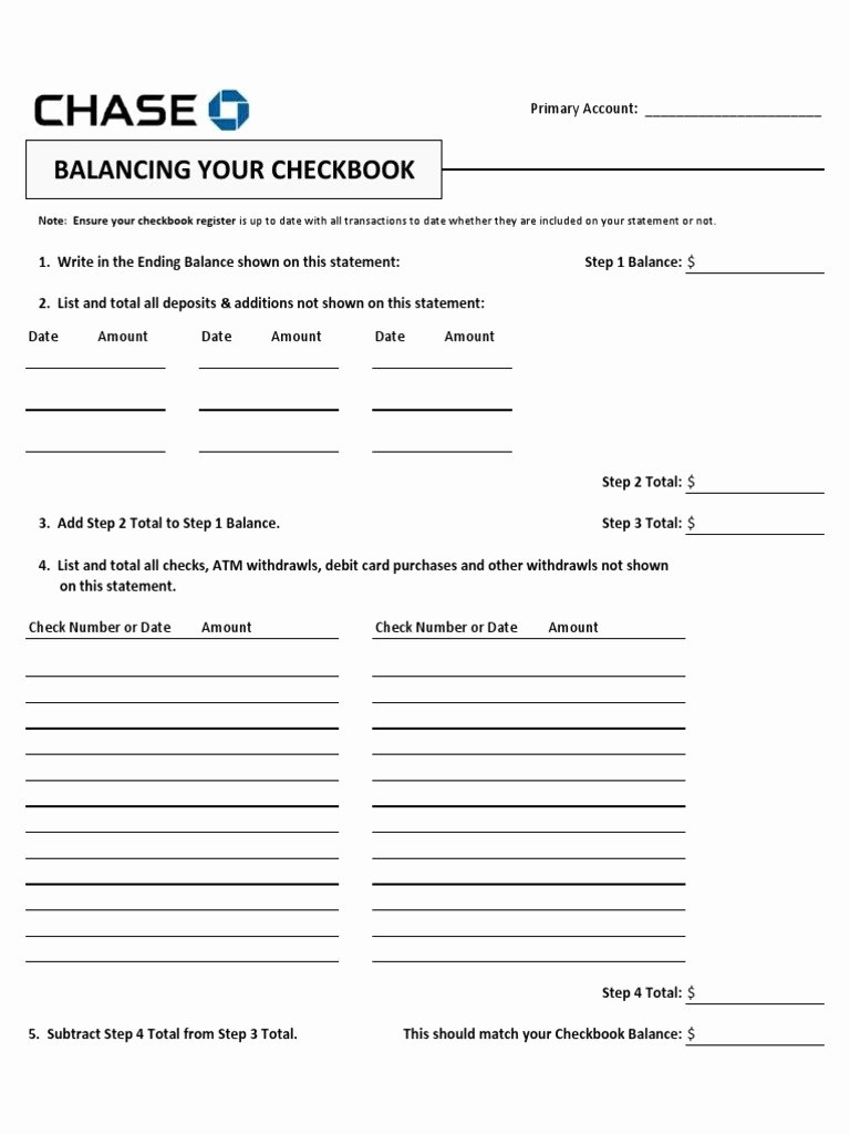Balancing A Checkbook Worksheet Elegant Chase Bank Reconciliation form Doc