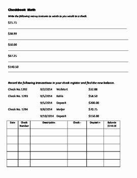 Balancing A Checkbook Worksheet Unique Checkbook Math by Maggie atkinson