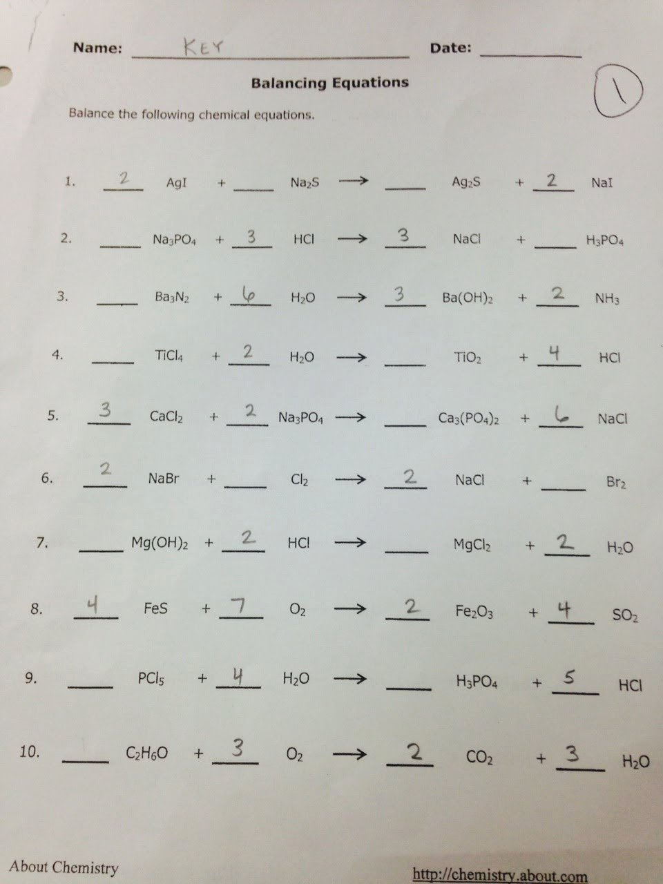 Balancing Act Worksheet Answer Key Beautiful Balancing Chemical Equations Worksheet Answers 110