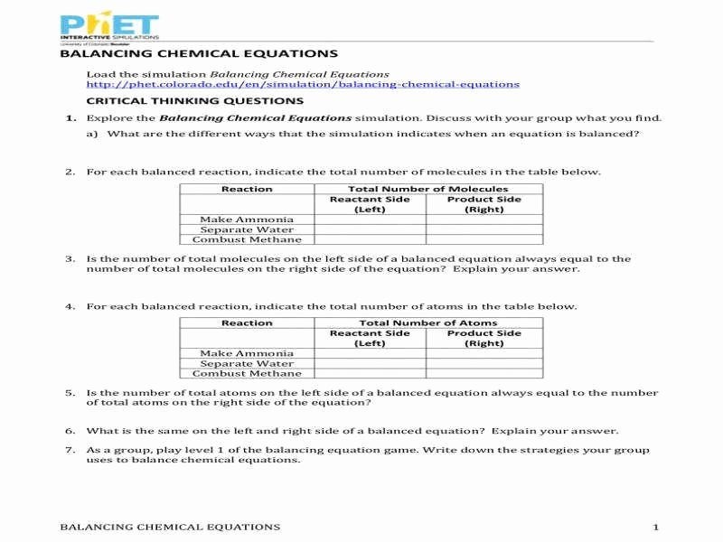 Balancing Act Worksheet Answer Key Best Of Balancing Chemical Equations Phet Worksheet Answer Key