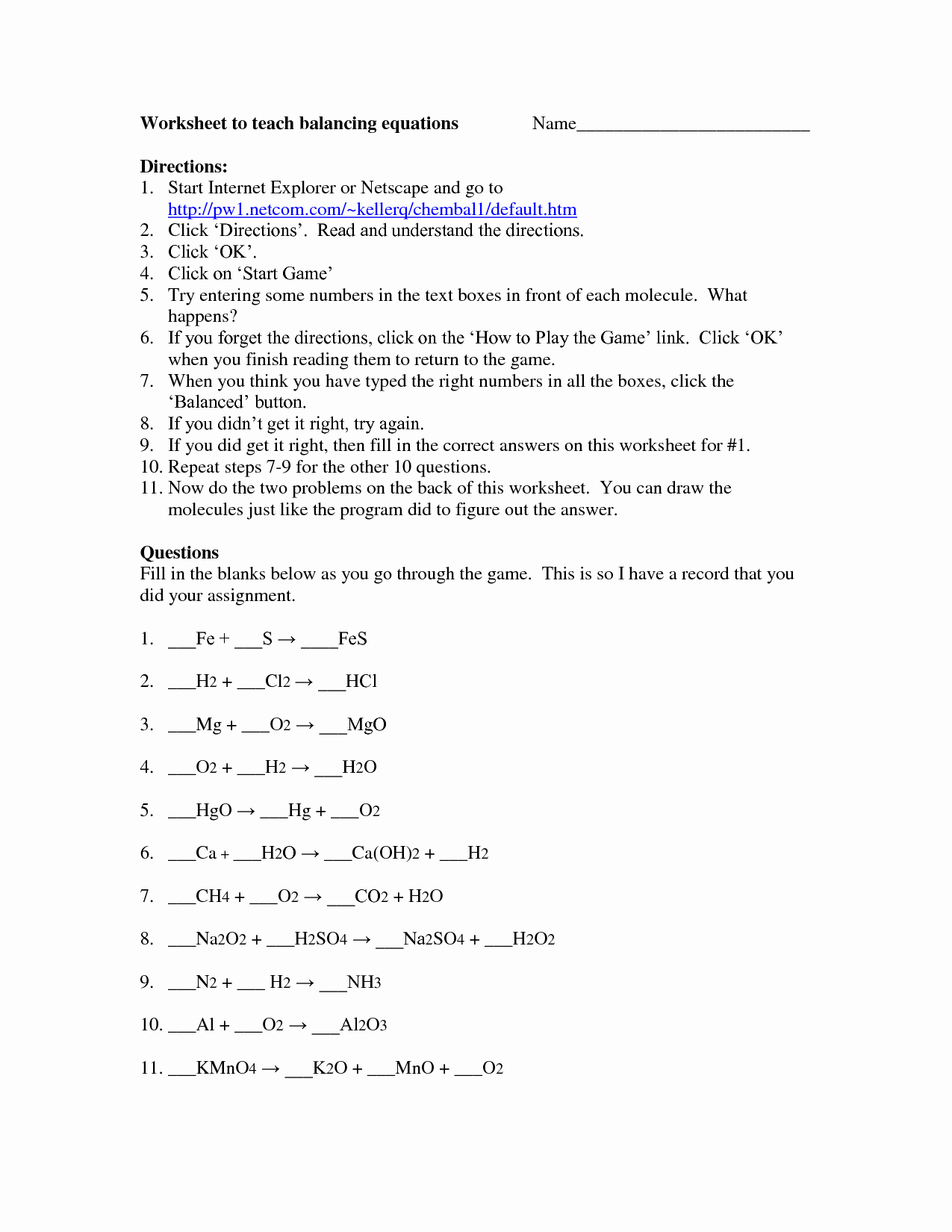 Balancing Act Worksheet Answer Key Elegant Balancing Equations 8th Grade Worksheet Tessshebaylo