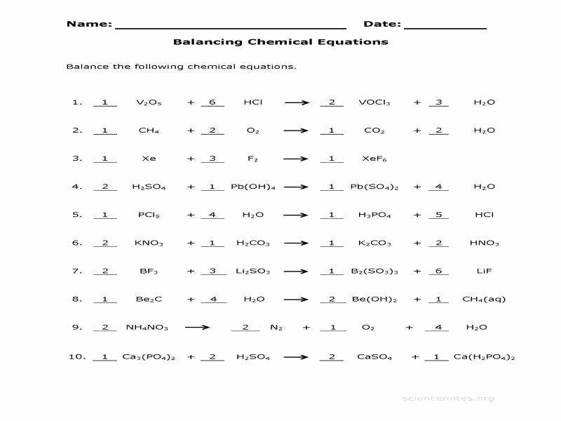 Balancing Act Worksheet Answer Key Inspirational Balancing Equation Worksheet