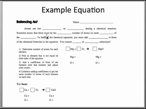 Balancing Act Worksheet Answer Key Luxury Balancing Act Video