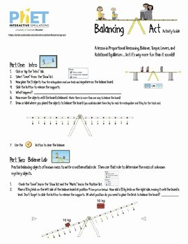 Balancing Act Worksheet Answer Key Luxury Phet Balancing Act Activity Guide by James Gonyo
