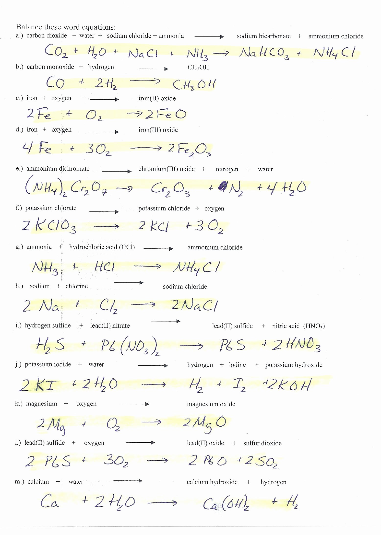 Balancing Act Worksheet Answer Key Unique Balancing Equations Worksheet 2 Answer Key Chemfiesta