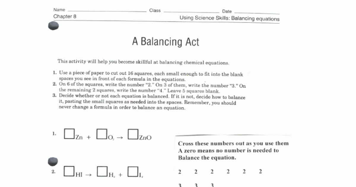 Balancing Act Worksheet Answers Awesome Balancing Act Worksheet Answers