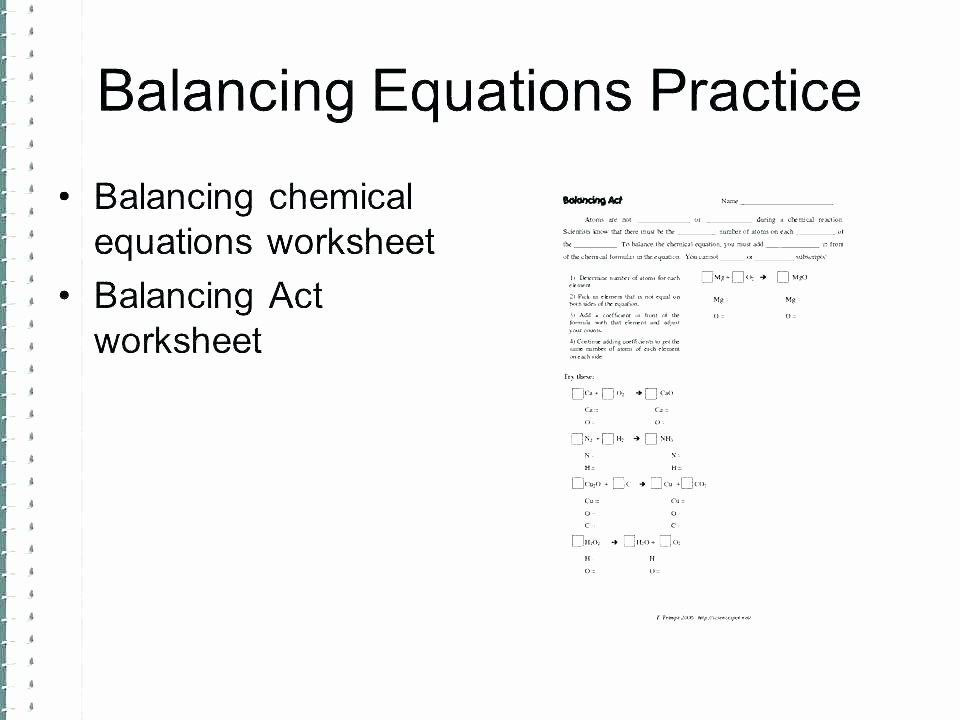 Balancing Act Worksheet Answers Beautiful Balancing Equations Practice Problems Answer Key – Hedonia