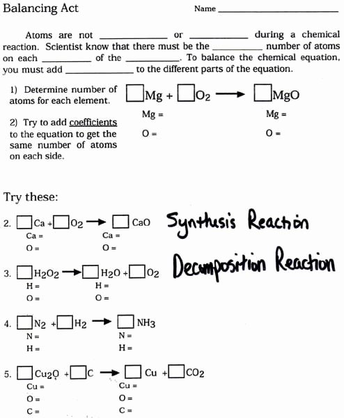 Balancing Act Worksheet Answers Best Of Chemical Equations and Reactions Worksheet Pichaglobal