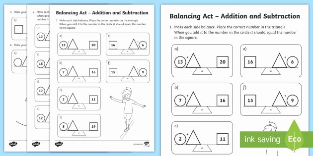 Balancing Act Worksheet Answers Best Of Ks1 Balancing Act Addition and Subtraction Worksheet