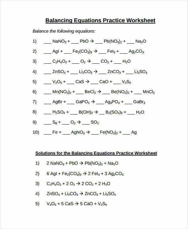 Balancing Act Worksheet Answers Inspirational Balancing Equations Practice Worksheet Answers