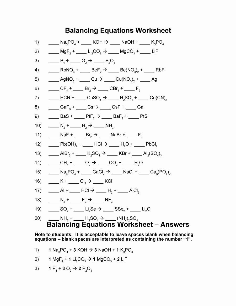 Balancing Chemical Equation Worksheet Awesome 49 Balancing Chemical Equations Worksheets [with Answers]