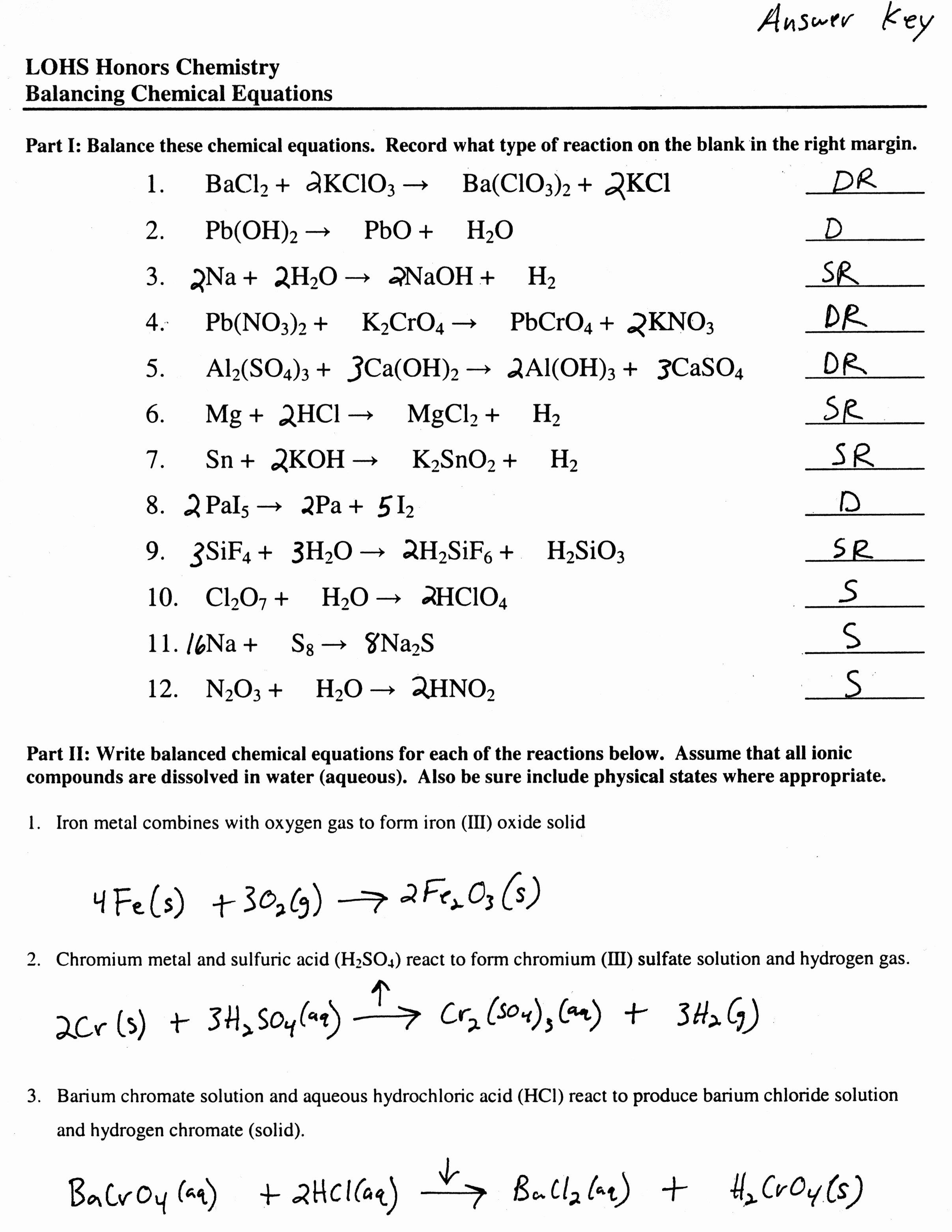 Balancing Chemical Equation Worksheet Fresh Balancing Equations Worksheet Health and Fitness Training