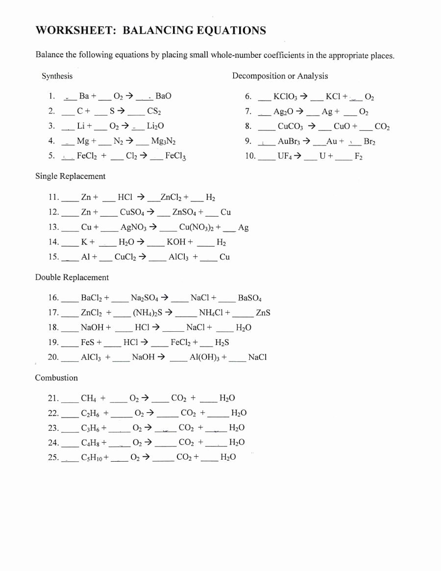 Balancing Chemical Equation Worksheet Inspirational 49 Balancing Chemical Equations Worksheets [with Answers]