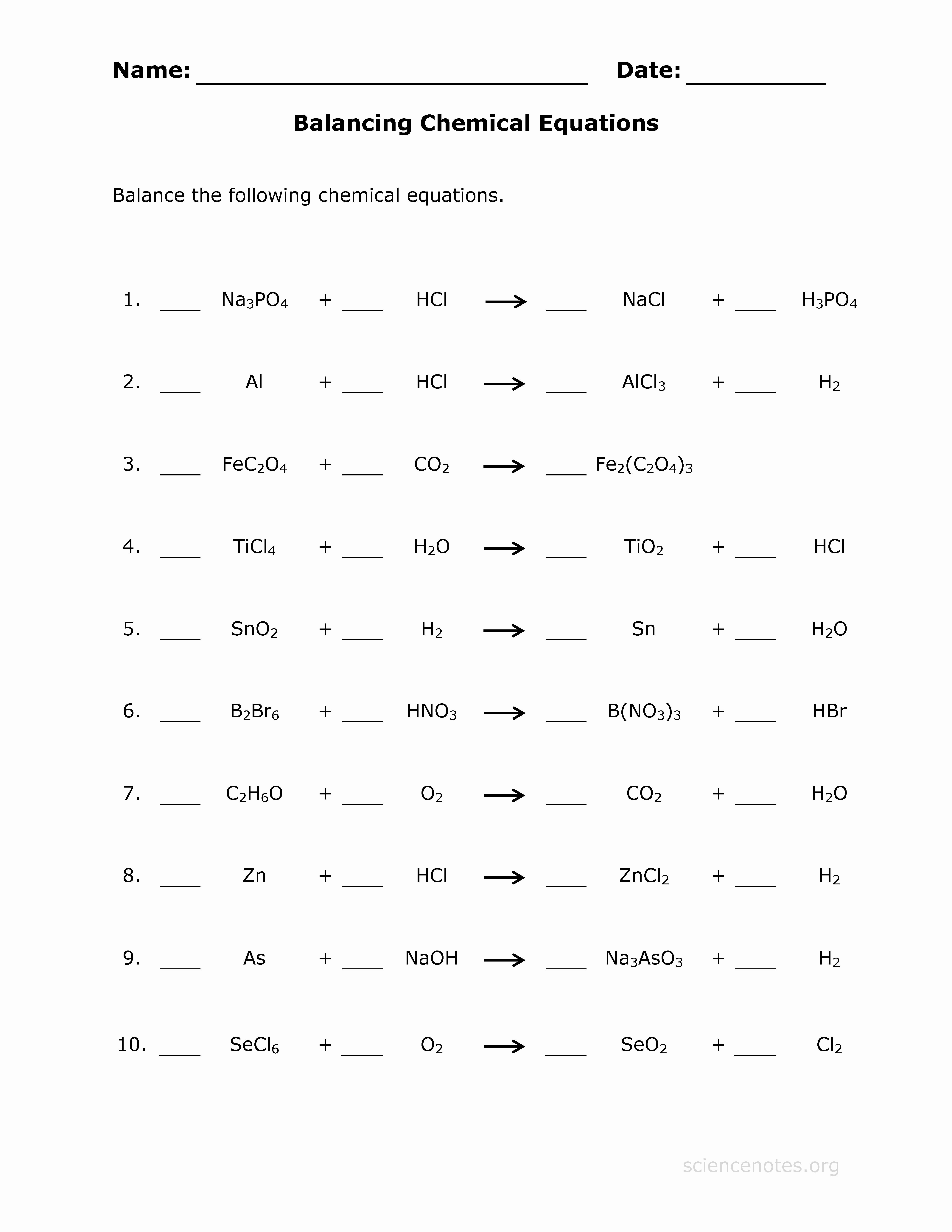 Balancing Chemical Equation Worksheet Lovely Balance Chemical Equations Practice Sheet