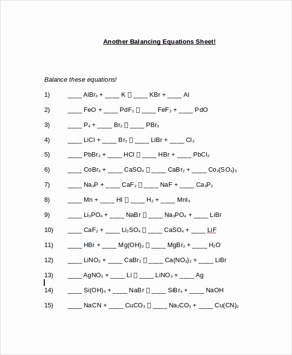 Balancing Chemical Equation Worksheet Lovely Sample Balancing Equations Worksheet Templates 9 Free