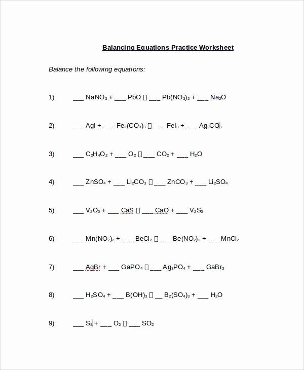 Balancing Chemical Equation Worksheet New Sample Balancing Equations Worksheet Templates 9 Free