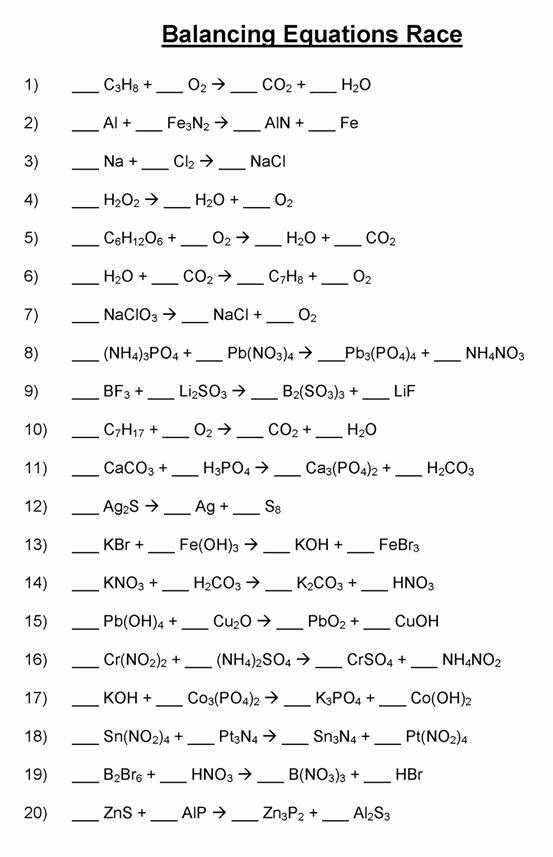Balancing Chemical Equation Worksheet Unique Balancing Chemical Equations Mr Durdel S Chemistry