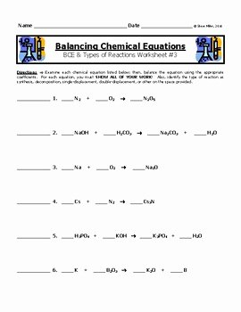 Balancing Chemical Equations Worksheet 1 Elegant Balancing Chemical Equations Worksheet 3 by Steve Miller