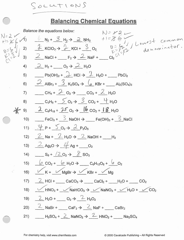 Balancing Chemical Equations Worksheet 1 Elegant Balancing Equations Worksheets 1 Answer Key