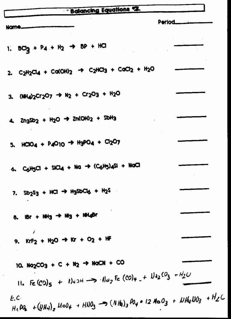 Balancing Chemical Equations Worksheet 1 Fresh Balancing Chemical Equations Worksheet 1