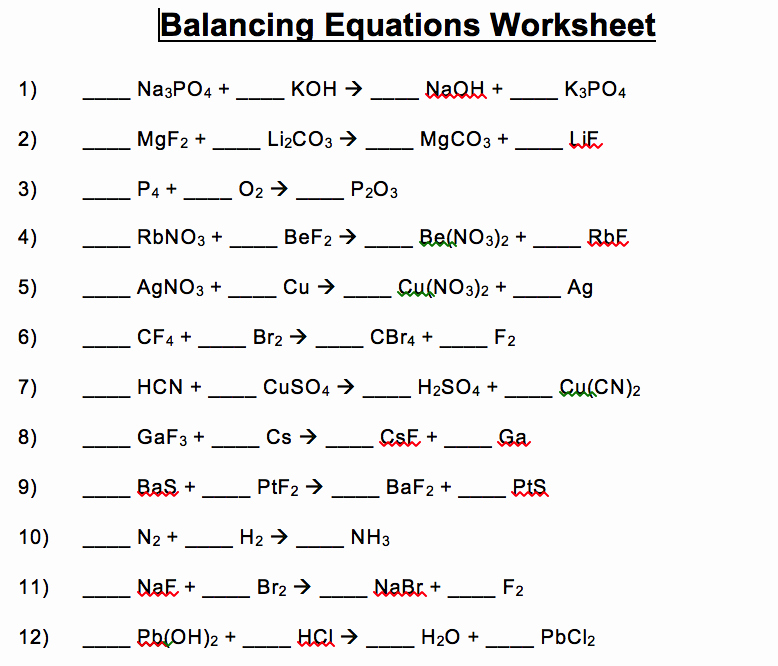 Balancing Chemical Equations Worksheet 1 Fresh Download Balancing Equations Worksheet