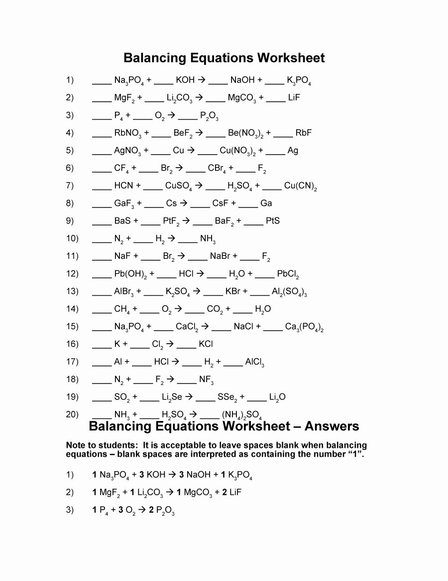 Balancing Chemical Equations Worksheet 1 Lovely Chemical Equations Worksheet Answers
