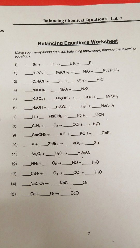 Balancing Chemical Equations Worksheet 1 Lovely solved Balancing Chemical Equations Lab 7 Balancing Equ