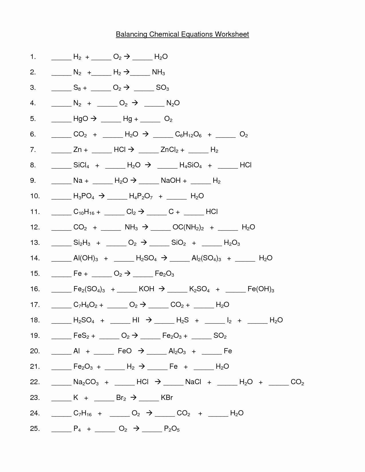 Balancing Chemical Equations Worksheet 1 Unique Balancing Equations Worksheet Workout Sheet