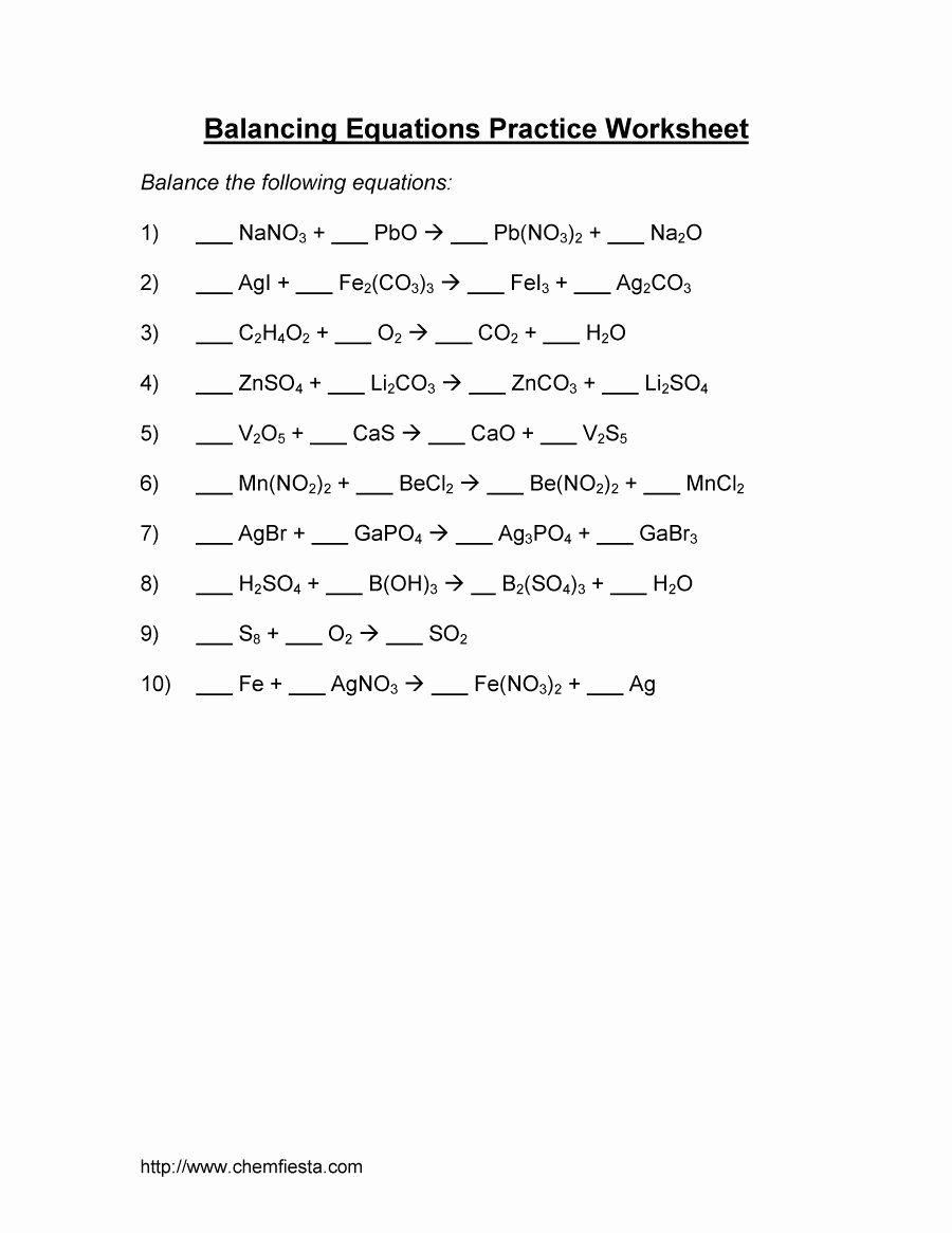 Balancing Chemical Equations Worksheet Answers Awesome Balancing Equations 06 Chemistry