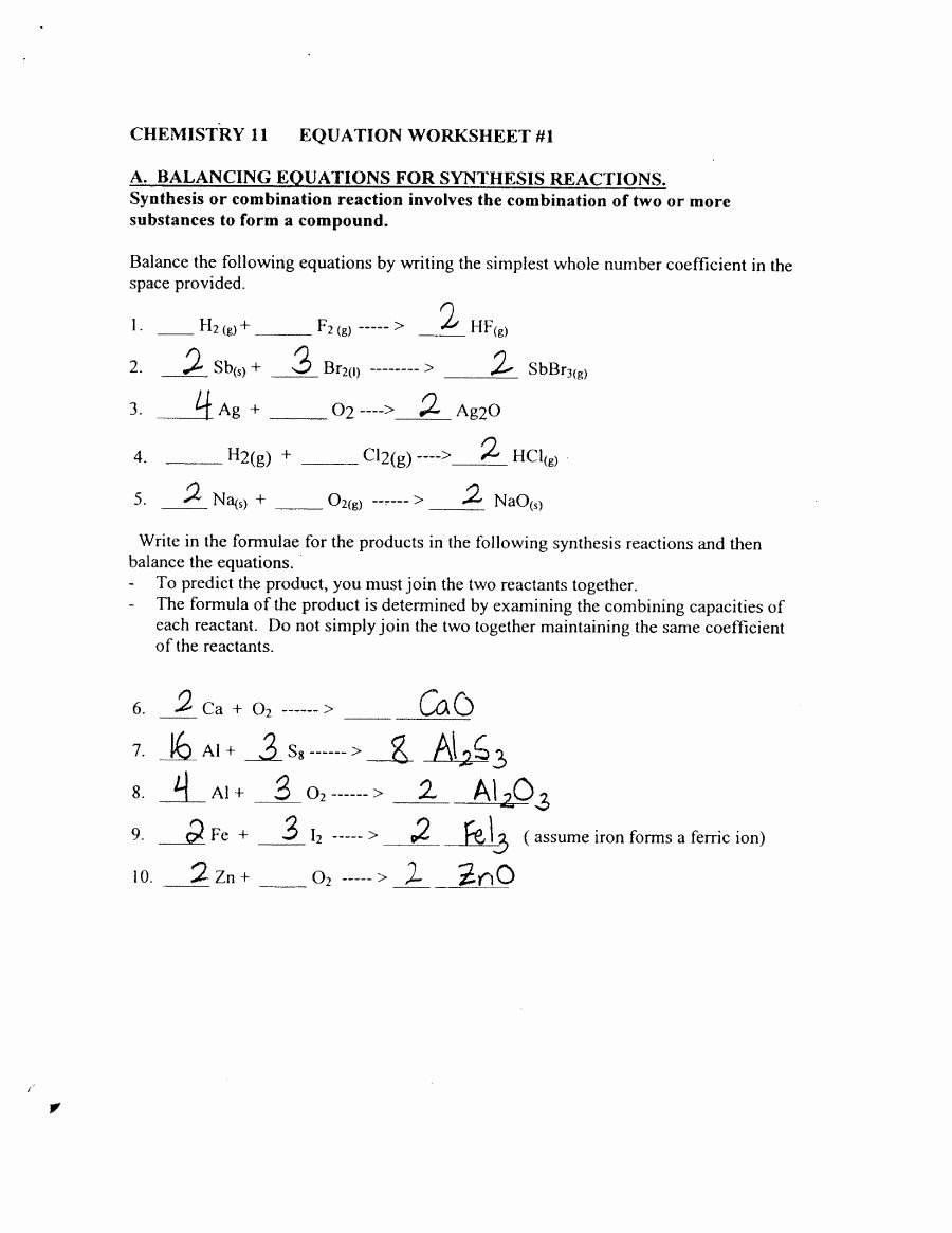 Balancing Chemical Equations Worksheet Answers Best Of Unit 7 Balancing Chemical Equations Worksheet 2 Answers