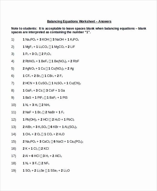 Balancing Chemical Equations Worksheet Answers Lovely Sample Balancing Equations Worksheet Templates 9 Free