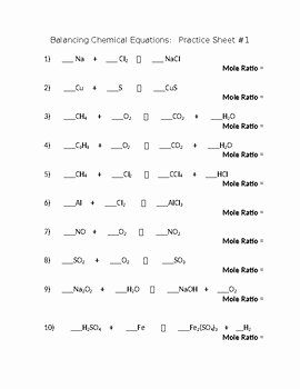 Balancing Chemical Equations Worksheet Answers Luxury Balancing Chemical Equations Worksheet by