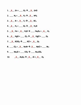 Balancing Chemical Equations Worksheet Answers Luxury Balancing Chemical Equations Worksheets Bo by