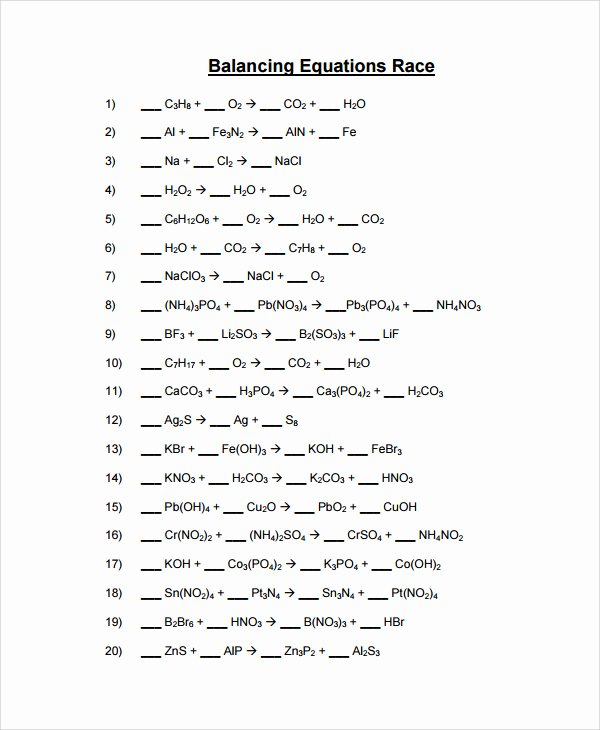Balancing Chemical Equations Worksheet Answers Unique 25 Of Template Worksheet for Ragnar Relay