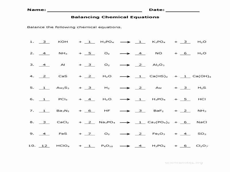 Balancing Equation Worksheet with Answers Awesome Balancing Equations Practice Worksheet Answers
