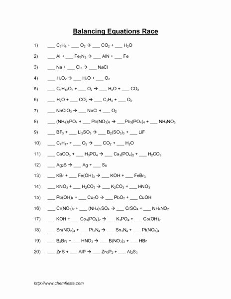 Balancing Equation Worksheet with Answers Beautiful Balancing Equations Race Activities & Project for 10th