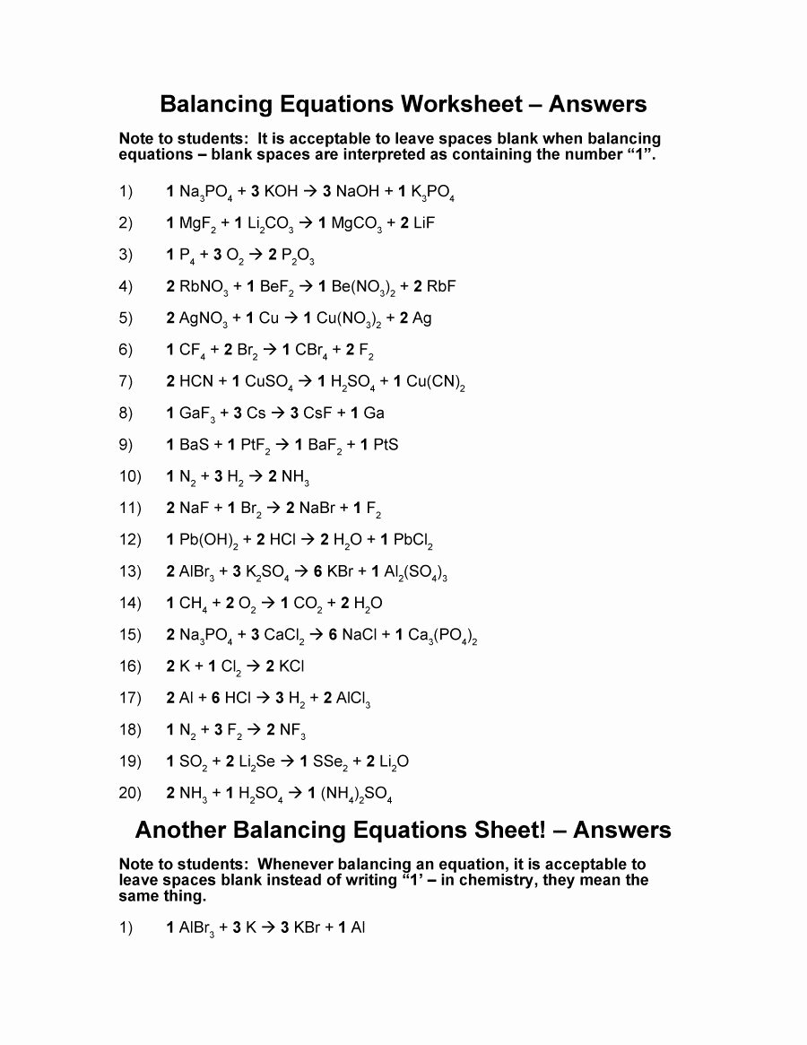Balancing Equation Worksheet with Answers Best Of 49 Balancing Chemical Equations Worksheets [with Answers]