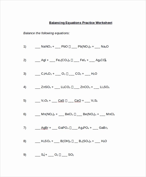 Balancing Equation Worksheet with Answers Elegant Sample Balancing Equations Worksheet Templates 9 Free