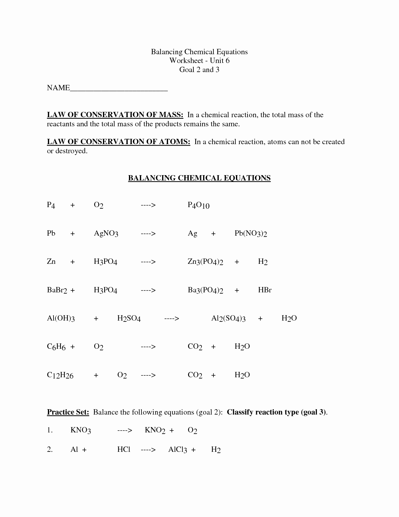 Balancing Equation Worksheet with Answers Fresh 12 Best Of Balancing Chemical Equations Worksheet