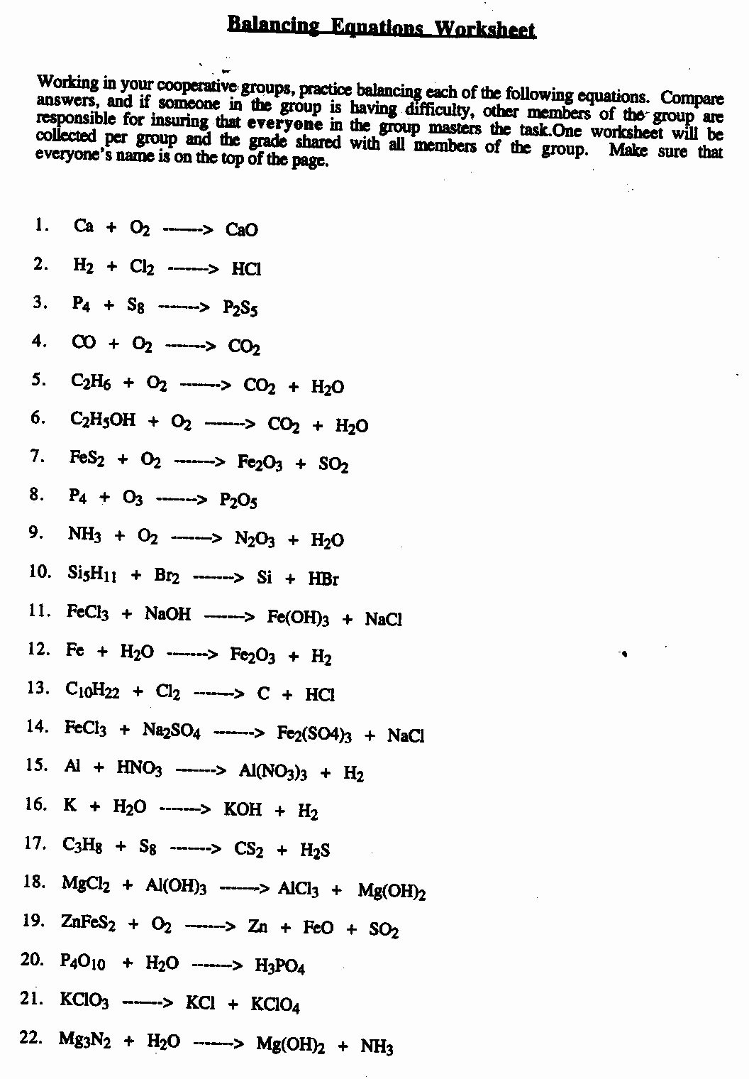 Balancing Equation Worksheet with Answers Fresh 12 Best Of Types Chemical Reactions Worksheet